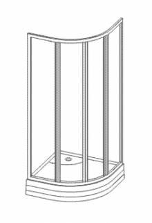 Produktbild: Viertelkreisgleittüre  Kunstglas 80 cm x Höhe1850 cm Profile weiss Abverkauf Sonderpreis